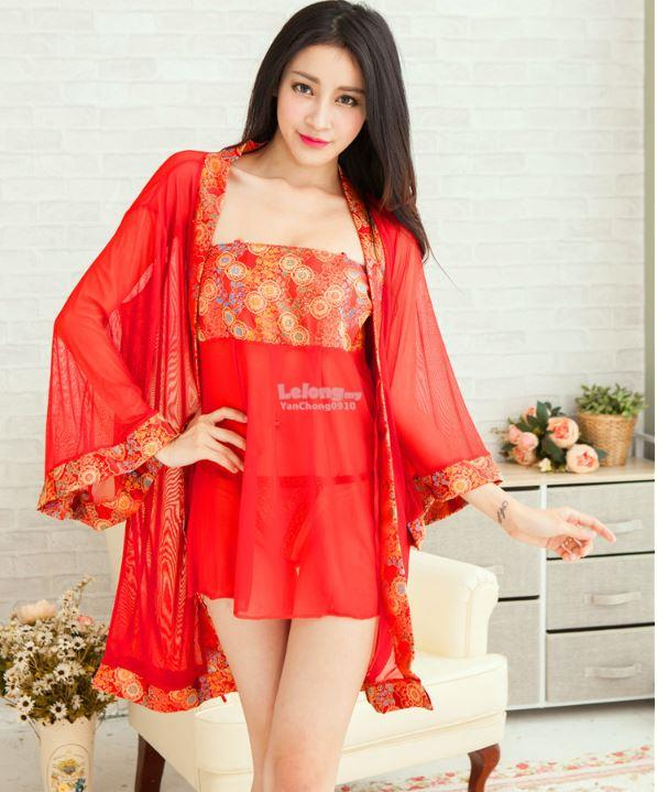 efecdb11f0ab New Arrival Robe Polyester Chinese Style Nightdress Lingerie Red FF66