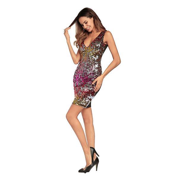 02d1ef8f6c New Arrival Sexy Women Deep V Neck Sleeveless Club Dress