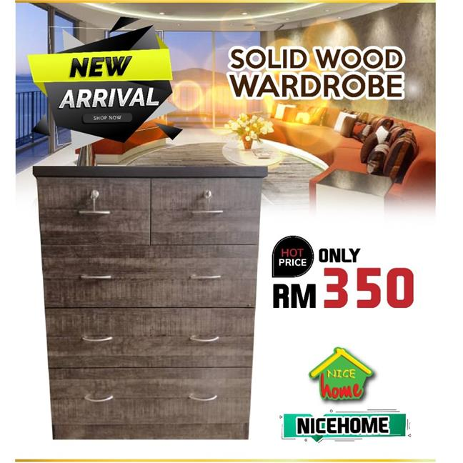 NEW ARRIVAL -SOLID WOOD WARDROBE ONLY RM499