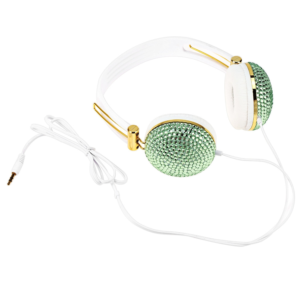 ARTIFICIAL CRYSTAL RHINESTONE BLING EARPHONES WITH ANTI-NOISE MUSIC FU..