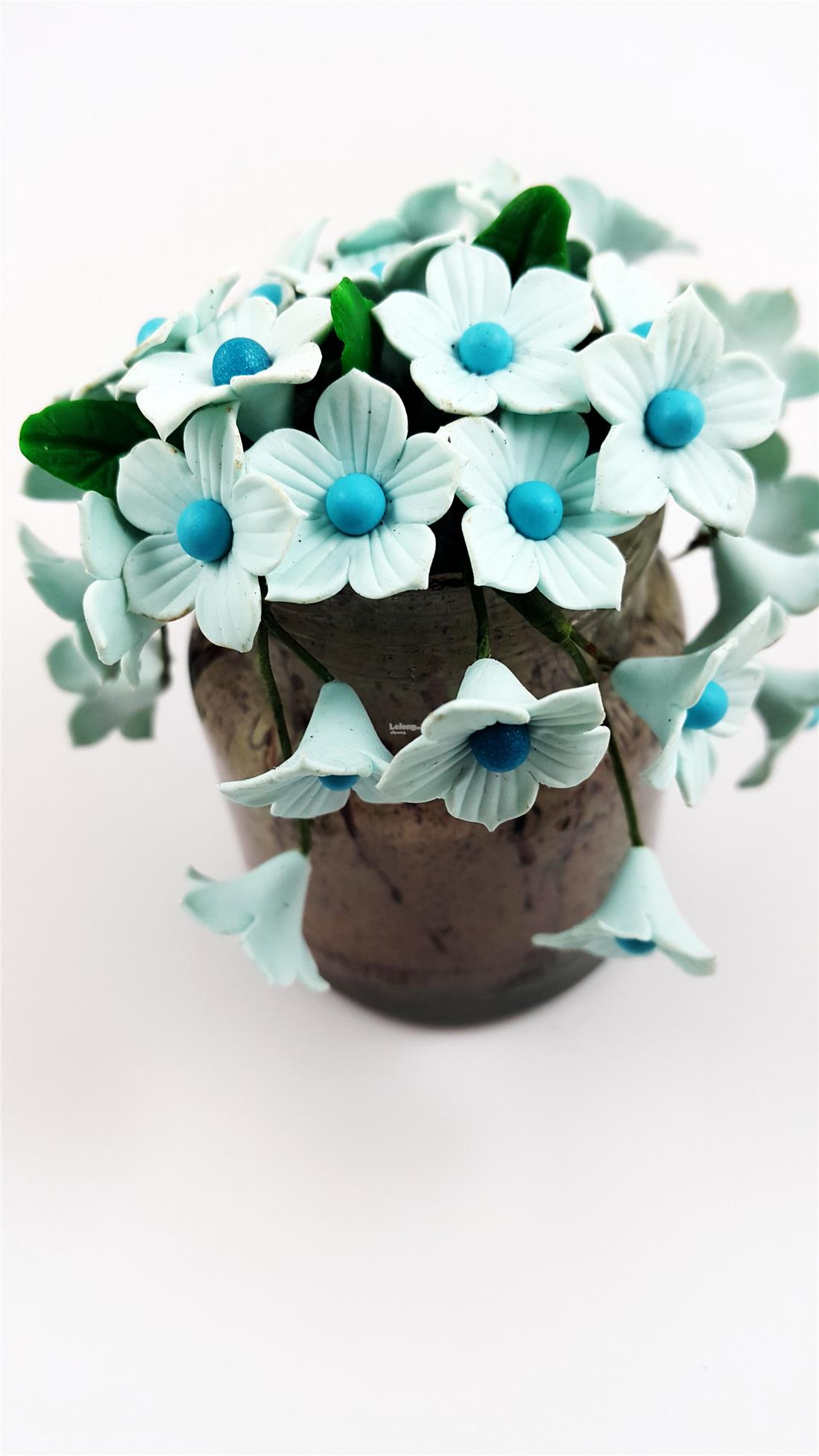 Artificial Floral Bread Clay Bouquet(Light Blue)