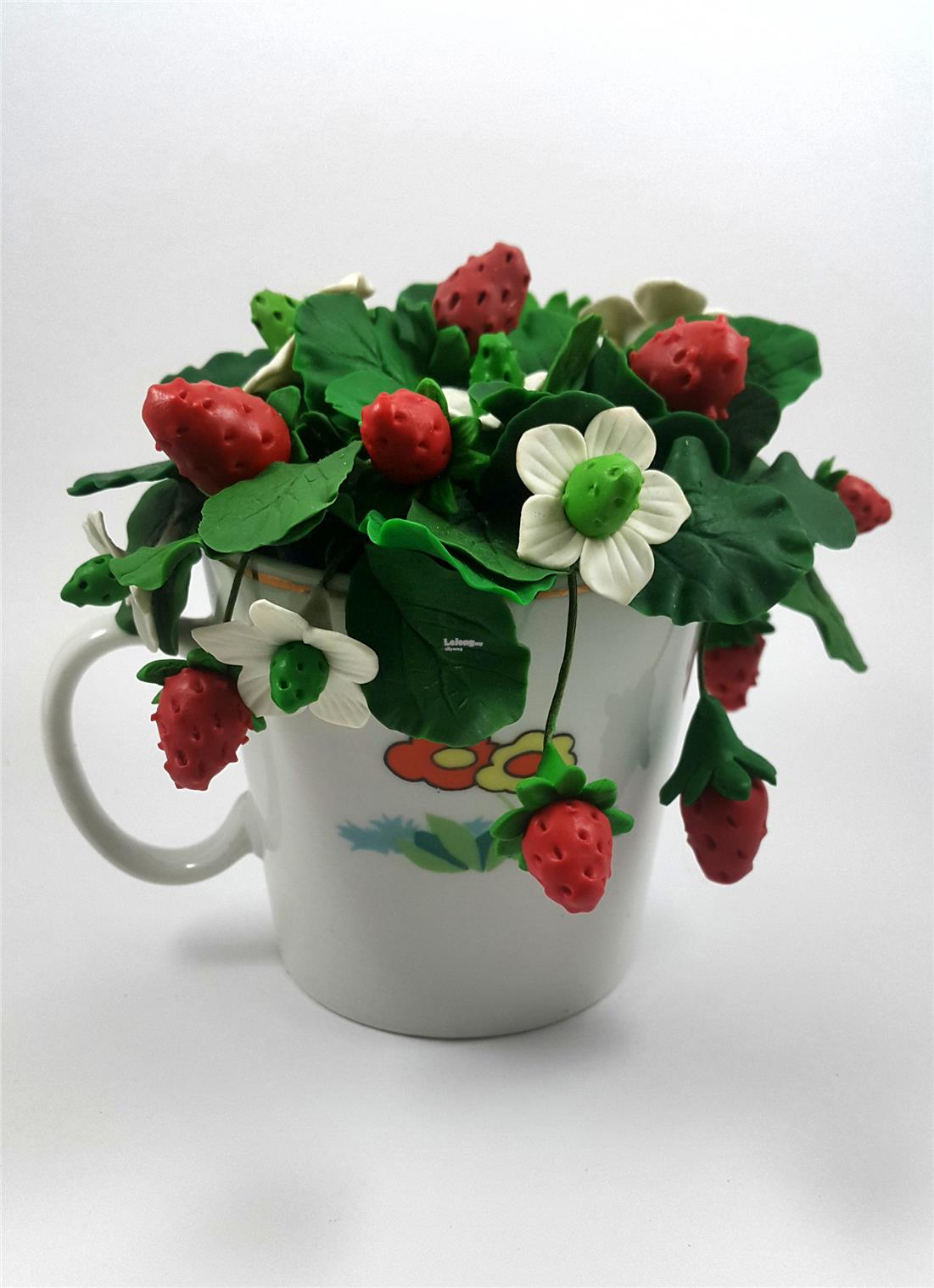 Artificial Floral Bread Clay Strawberry Bouquet