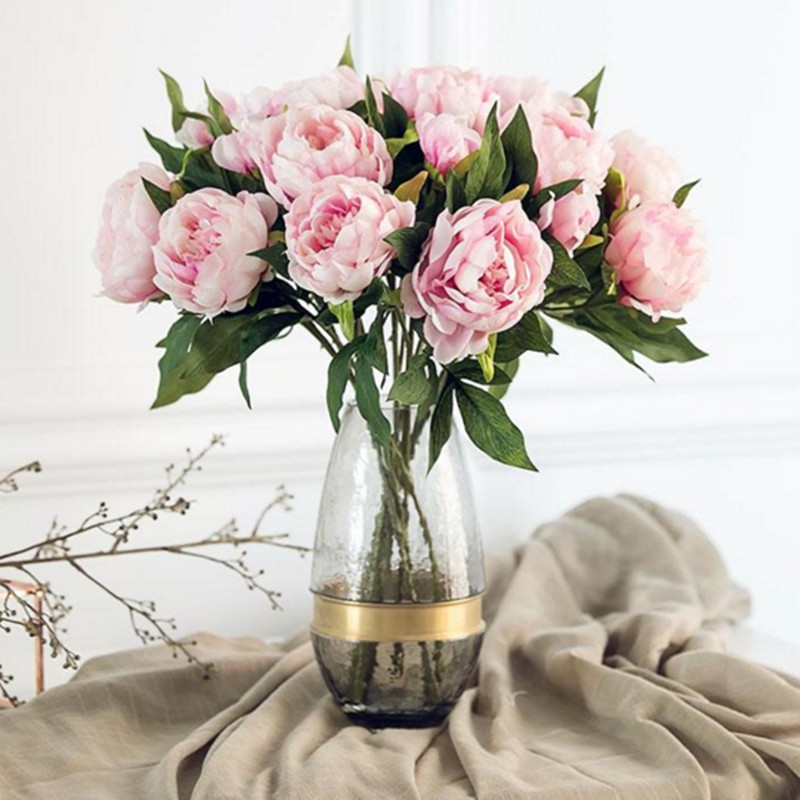 Artificial Flowers - Branch Of Flower - 3 Heads European Style Peony H..