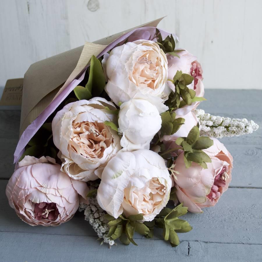 Artificial Roses Hydrangea Peony Hand Bouquet