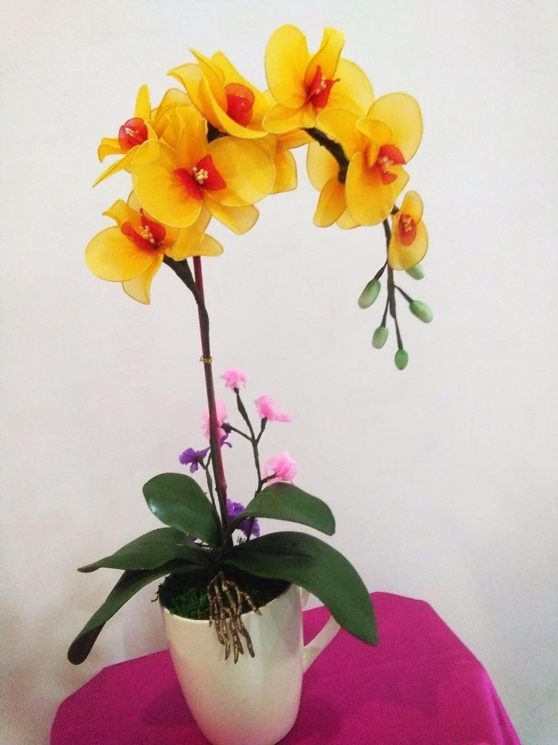 Artificial yellow orchid flowers by end 10232017 915 pm artificial yellow orchid flowers by nylon stocking mightylinksfo
