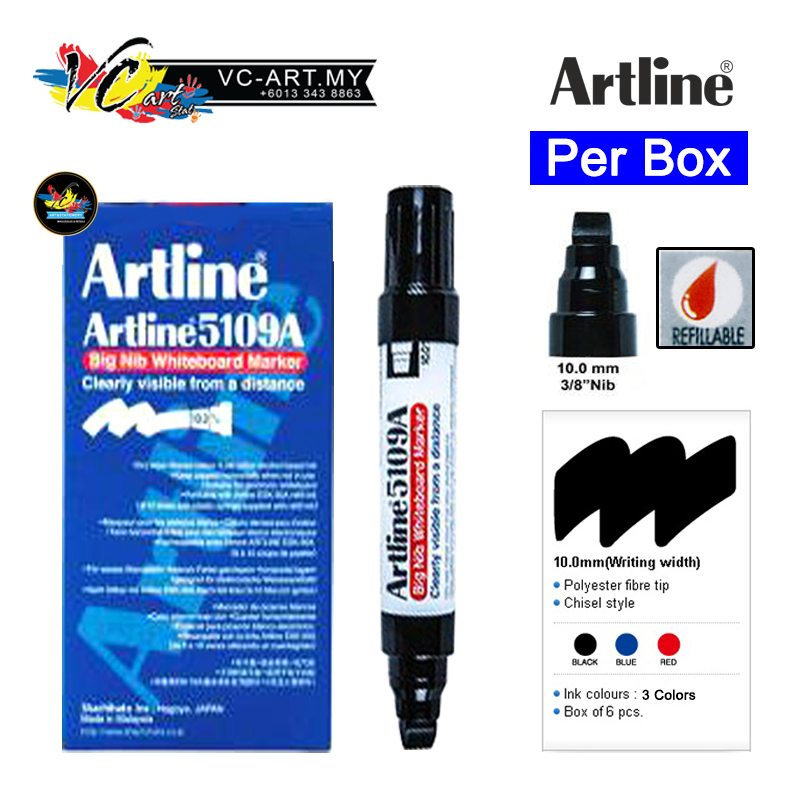 Artline 5109A Big Nib Whiteboard Marker-EK-5109A-Per Box