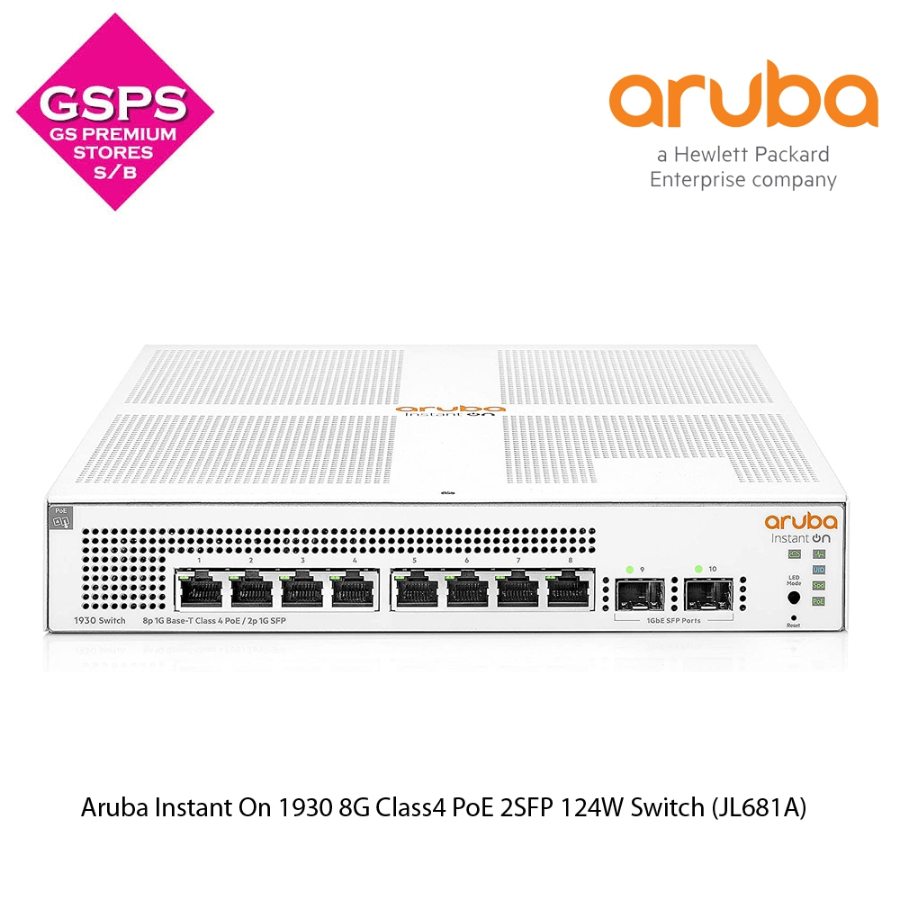 Aruba Instant On 1930 8G Class4 PoE 2SFP 124W Switch (JL681A)