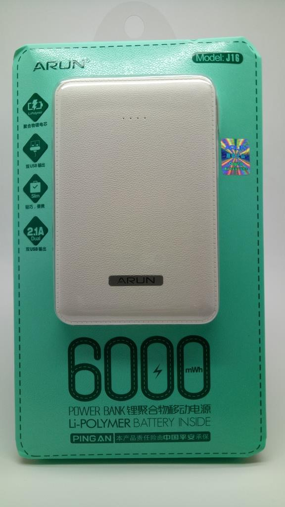 ARUN Li-POLYMER PowerBank J16 6000mAh(Double USB Output)