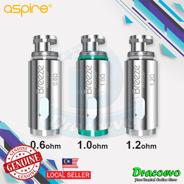 Aspire Breeze Atomizer Head 0 6 / 1 0 / 1 2 Ohm OCC Pod Replacement