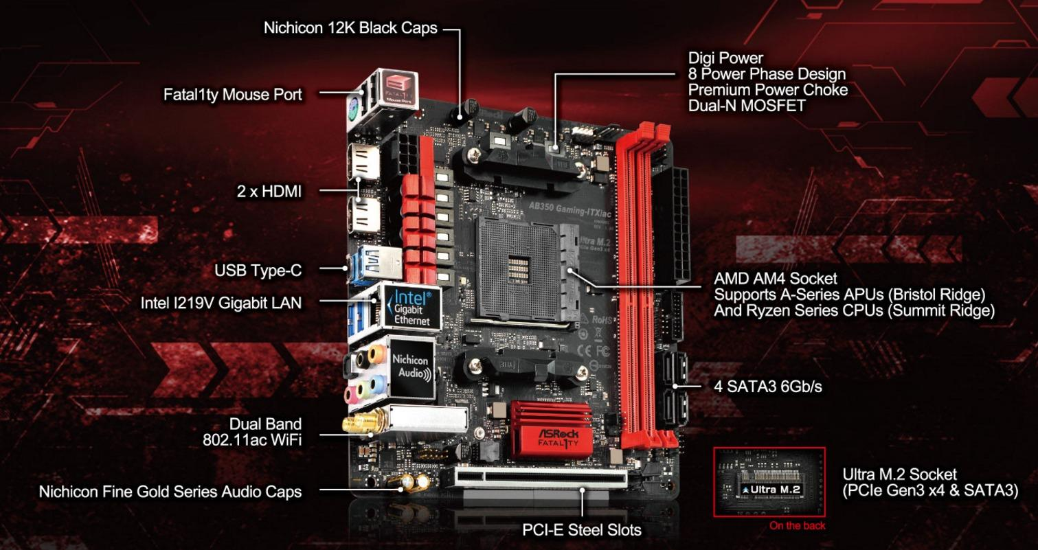 # ASRock Fatal1ty AB350 Gaming-ITX/ac ITX Motherboard # AMD AM4
