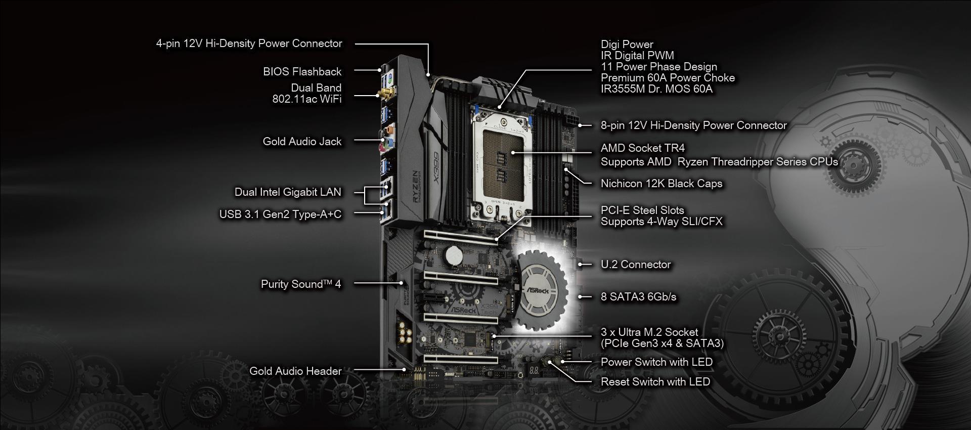 ASRock X399 TAICHI sTR4 SATA 6Gb/s USB 3 1/3 0 ATX AMD Motherboard
