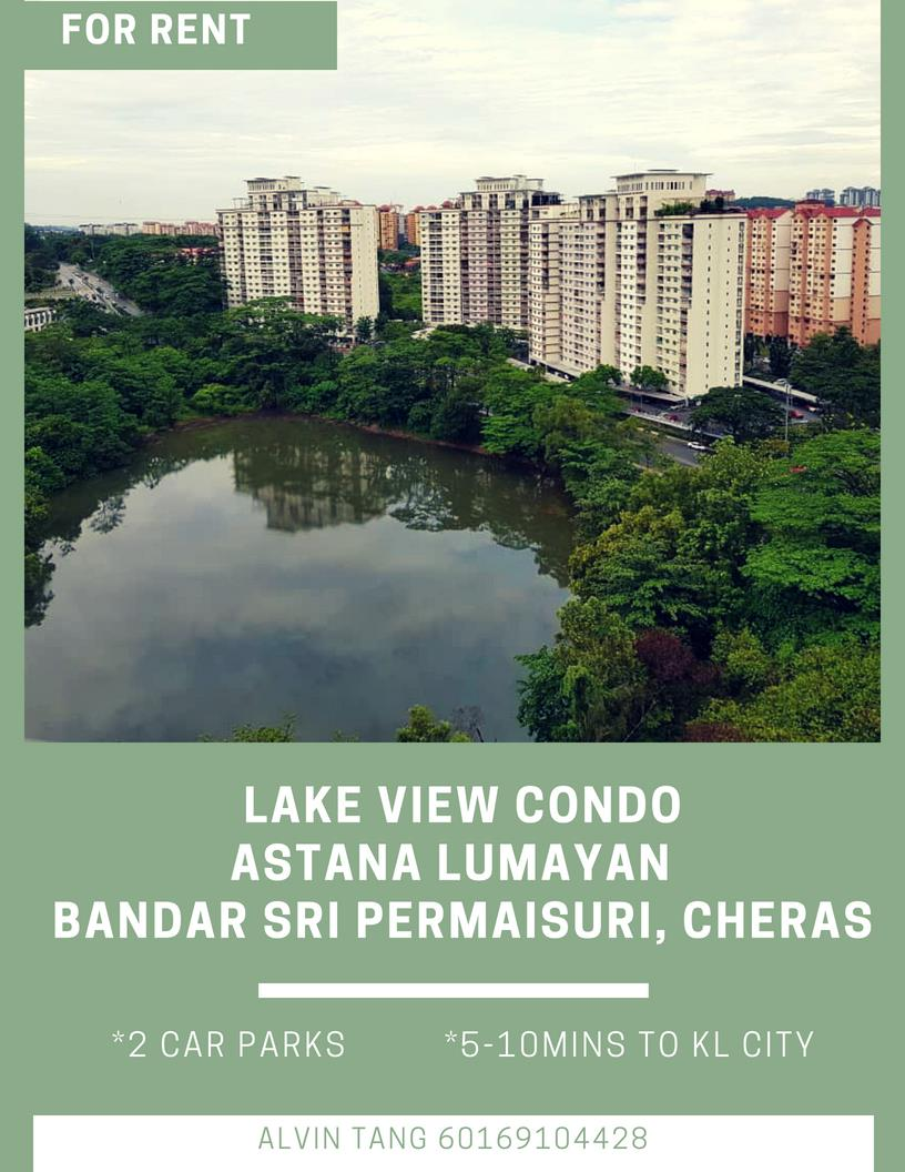 Astana Lumayan Condo for rent, 2 Car Parks, Bdr Sri Permaisuri, Cheras