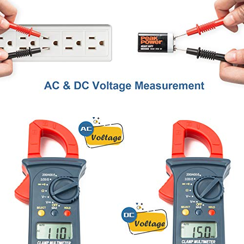 AstroAI Digital Clamp Meter, Multimeter Volt Meter with Auto Ranging; Measures