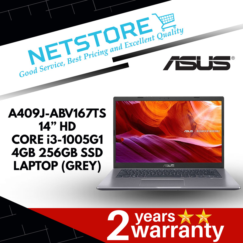 "ASUS A409J-ABV167TS 14"" HD LAPTOP (GREY) - i3-1005G1, 4GB, 256GB SSD"