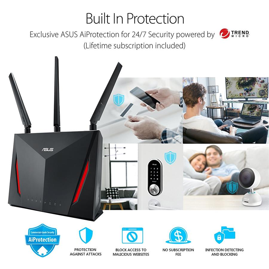 ASUS AC2900 Dual Band Gigabit WiFi Gaming Router - RT-AC86U