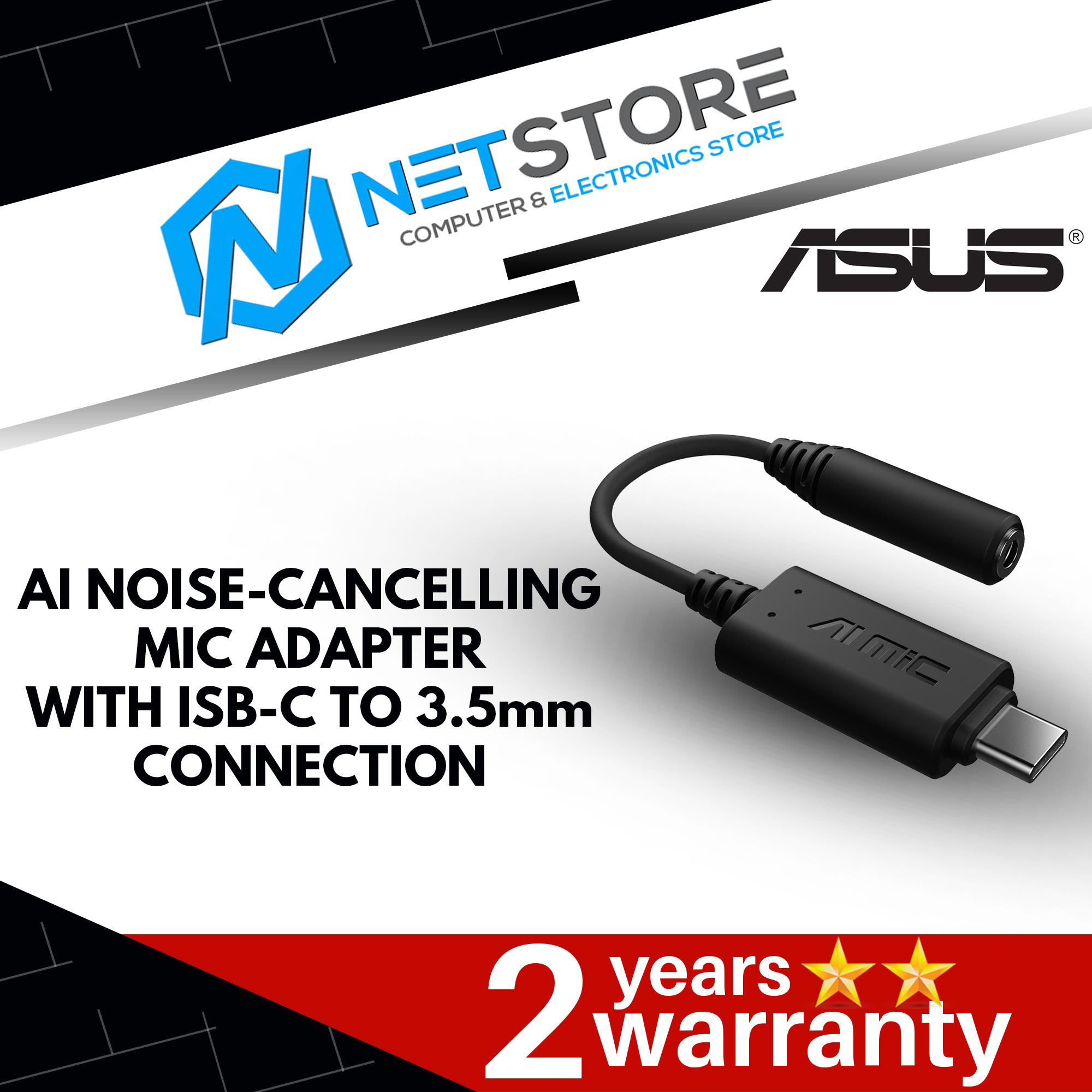 ASUS AI NOISE-CANCELLING MIC ADAPTER WITH USB-C TO 3.5mm CONNECTION