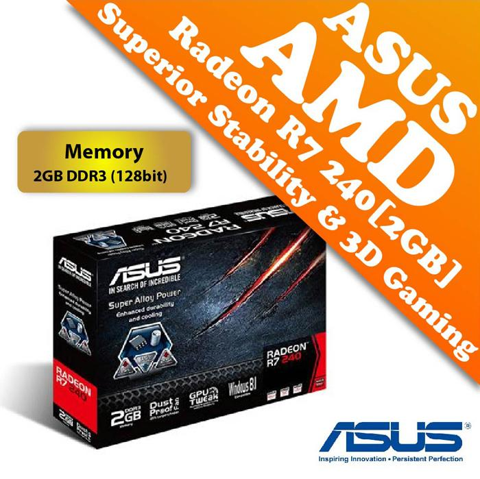 ASUS AMD Radeon R7 240 2GB DDR3 Graphic Card (128 bits)