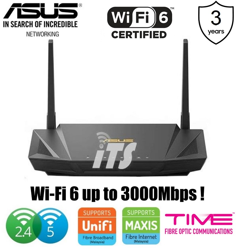 Asus AX1800 Dual Band WiFi 6 (802.11ax) Router supporting MU-MIMO, OFD