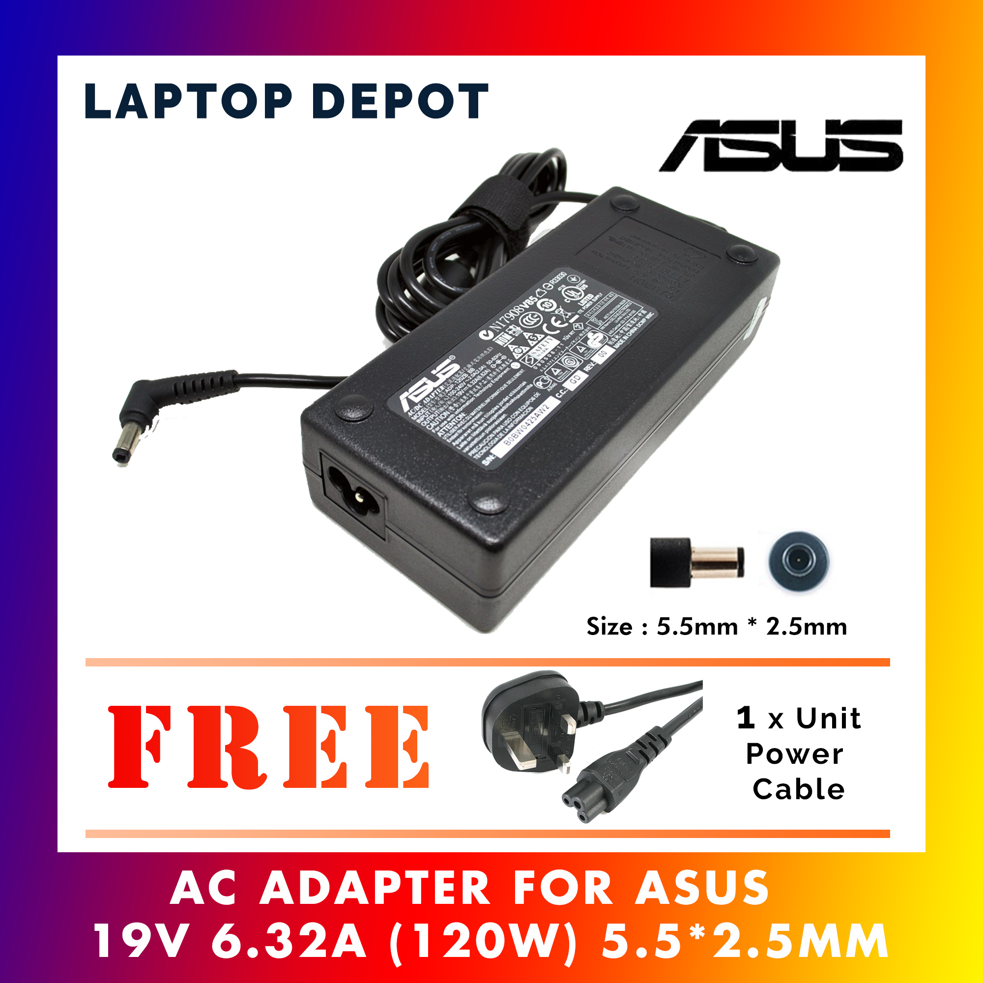 Asus Laptop Adapter 19V 6.32A (120W) For N750 N500 G50 N53S N55 GL552 Series