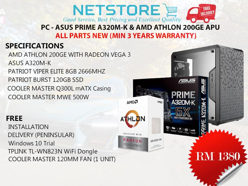 ASUS PRIME A320M-K  & ATHLON 220GE APU PC BUNDLE - SSD