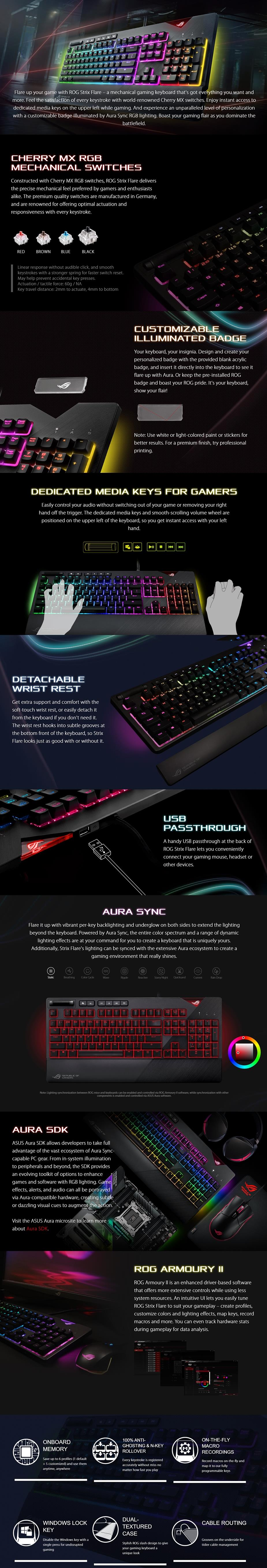d537fc63517 ASUS ROG Strix Flare RGB Mechanical Cherry MX Switches Gaming Keyboard