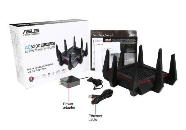 ASUS Router Gigabit WiFi N1000MBPS TRI BAND AC5300 (RT-AC5300)
