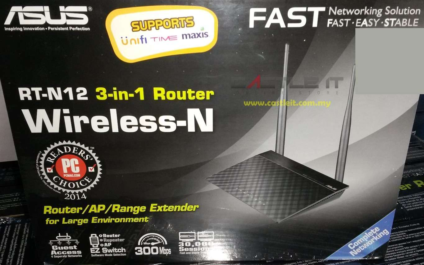 ASUS Router STD WiFi N300MBPS 3-IN-1 (RT-N12) (D1)