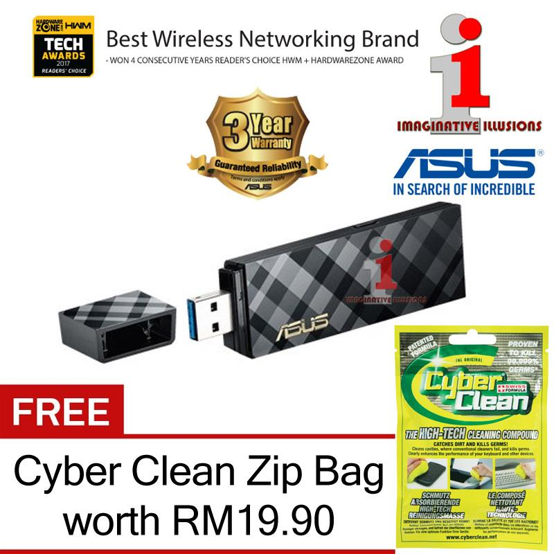 ASUS USB-AC55 400+867Mbps Dual-Band WiFi-AC USB3.0 + FREE Cyber Clean