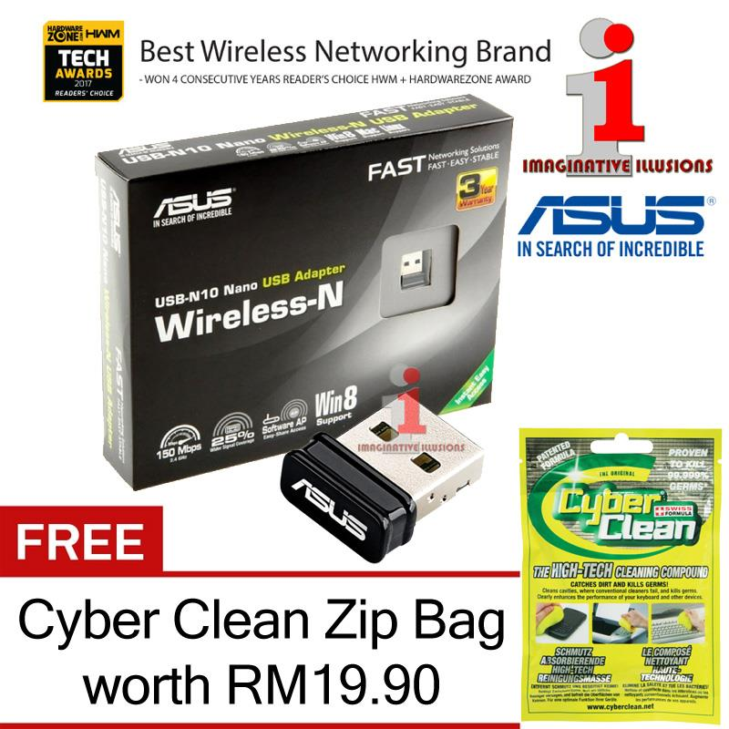 ASUS USB-N10 Nano 150Mbps Wireless-N USB2.0 Adapter + FREE Cyber Clean