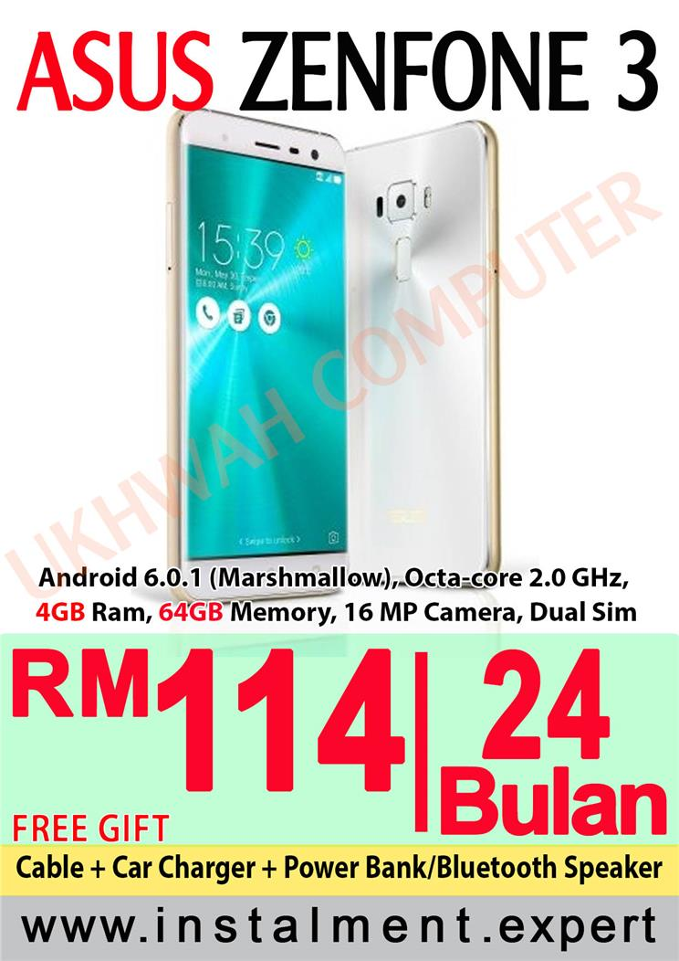 Asus Zenfone 3 55 64GB Harga Ansuran Instalment AEON 24 Bulan