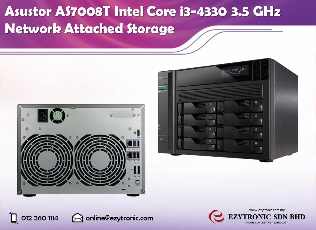 Asustor AS7008T Intel Core i3-4330 3.5 GHz Network Attached Storage