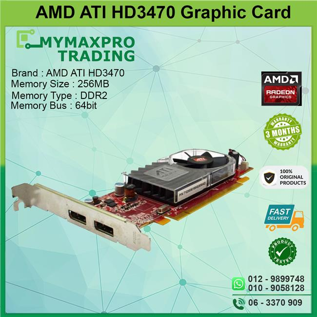 ATI Radeon HD 3470 256MB DDR3 64bit Dual Display Port Graphic Card