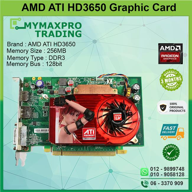 ATI Radeon HD 3650 256MB DDR3 128bit PCI-E DVI Display Port HDMI GPU