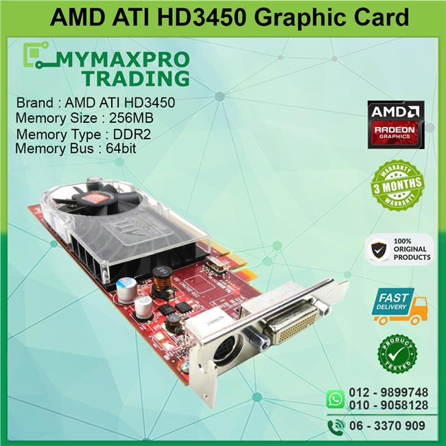 ATI Radeon HD3450 256MB DDR2 64bit PCI-E DMS-59 TV-Out GPU F342F