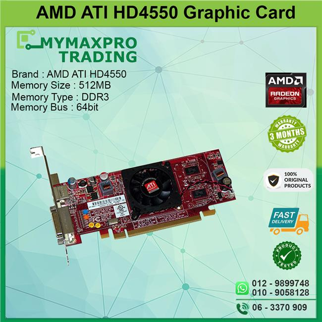 ATI Radeon HD4550 512MB DDR3 64bit PCI-E DMS-59 TV-Out Graphic Card