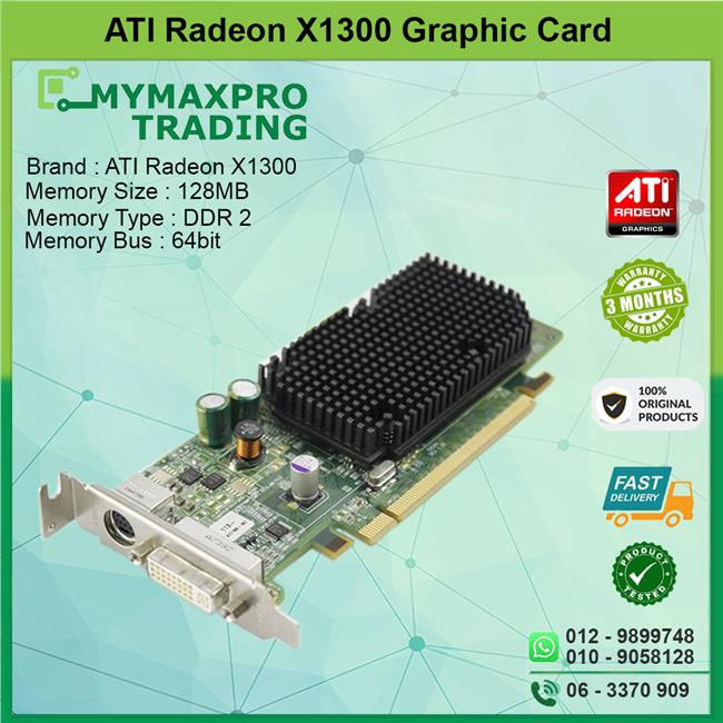 ATI Radeon X1300 128MB DDR2 64bit DVI TV-Out Graphic Card