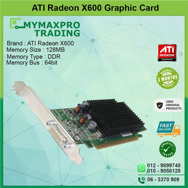ATI Radeon X600 128MB DDR 128bit DMS-59 Graphic Card G9184