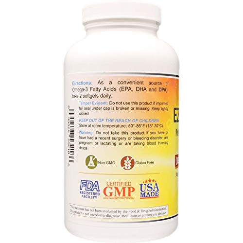 Atlantic Menhaden Fish Oil Omega-3 2000 mg, Burpless, Made in The USA, Perfect