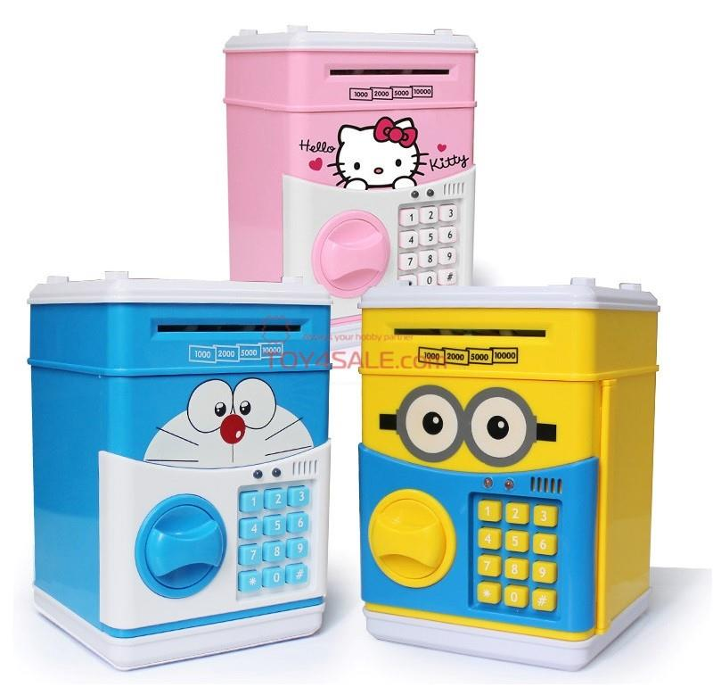 ATM Money Safe Box Toy + Sound + Key Minion Hello Kitty Educational