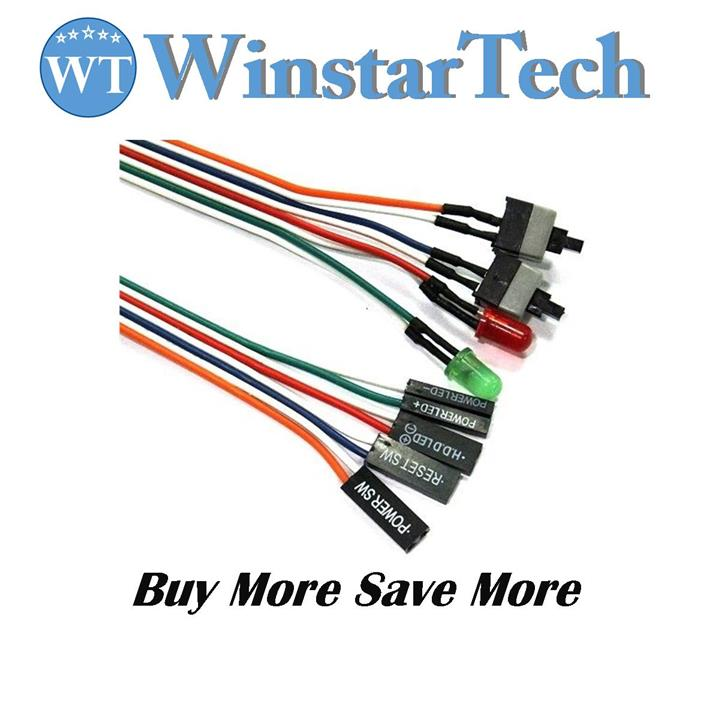 ATX Power Reset ON OFF RESET Switch Cable HDD LED Light Motherboard PC