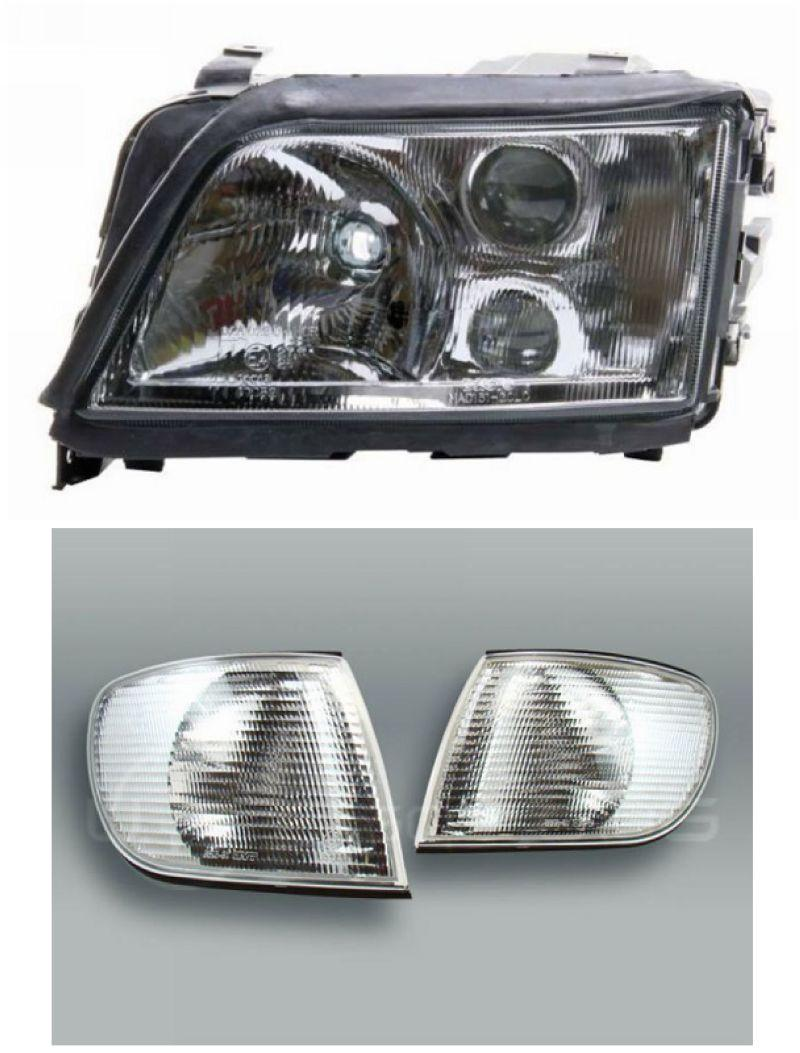 AUDI A6 95 Projector Head Lamp + Corner Lamp + 2-Function DRL R8