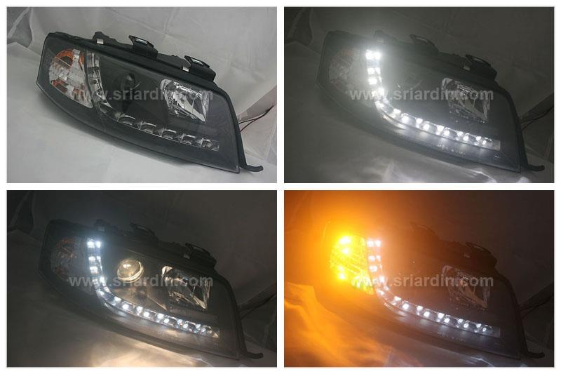 AUDI A6 C5 97-03 BLACK PROJECTOR HEADLAMP W LED