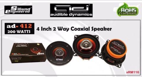 "Audible Dynamic 4"" 2 way car speaker 200 watt"