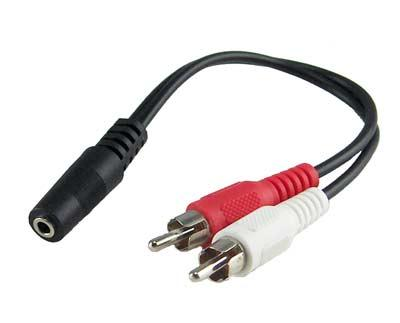 Audio Cable 3.5mm Female to 2X RCA Male Cable