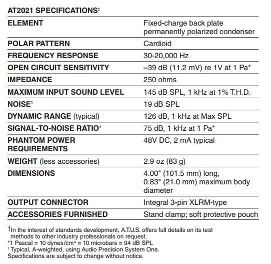 Audio Technica ATH AT2021 / AT-2021 Cardioid Condenser Microphone