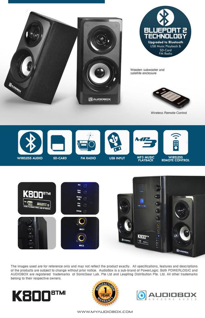 AUDIOBOX K800 BTMI BLUETOOTH RADIO MULTIMEDIA SPEAKER (80WATTS)
