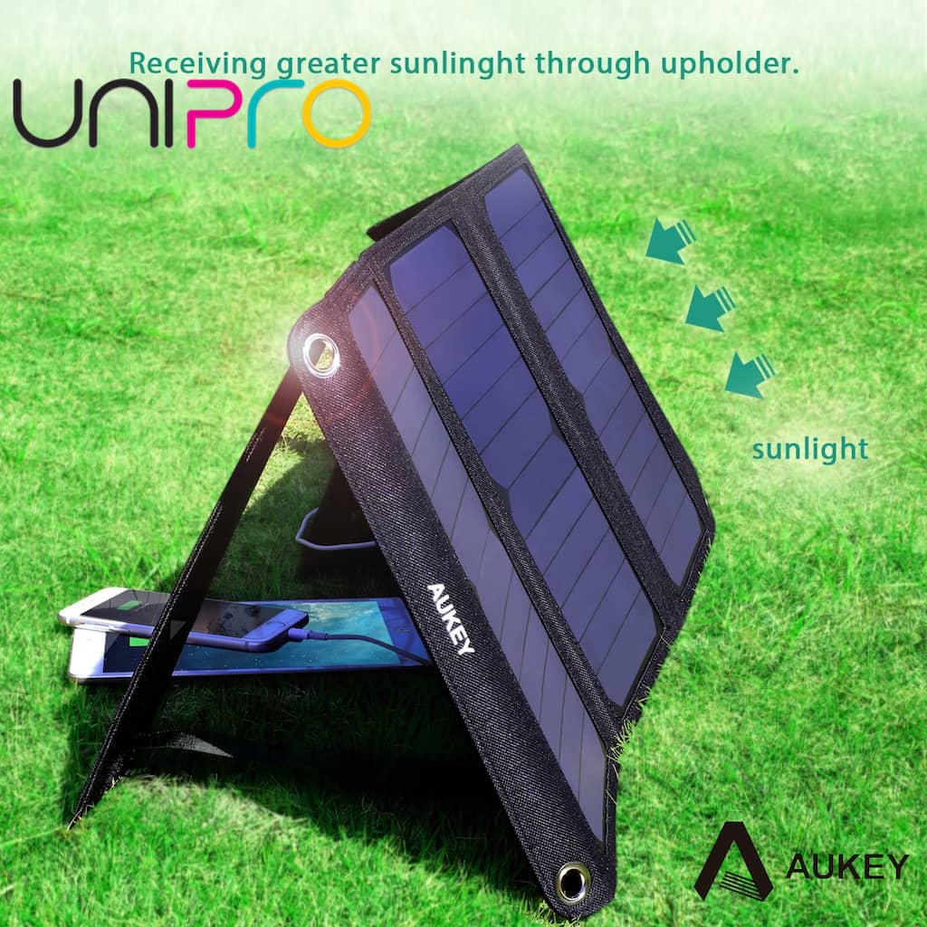 Aukey 21w Outdoor Solar Panel Charger Dual Usb Port For Le Iphone Samsung P