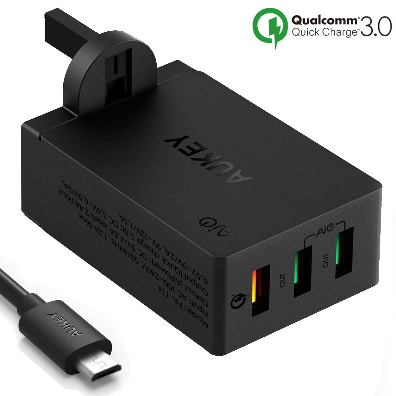 AUKEY PA-T14 3-Port USB Qualcomm Quick Charge 3.0 Travel Charger QC 3.