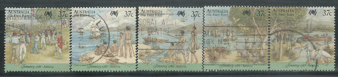 AUS-19880126U AUSTRALIA 1988 ARRIVAL OF FIRST FLEET 5V USED