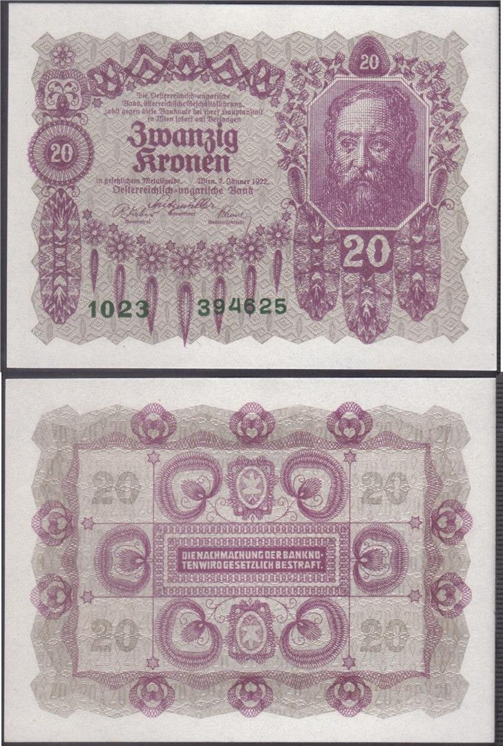 Original 1922 P-76 Banknotes UNC Austria 20 Kronen